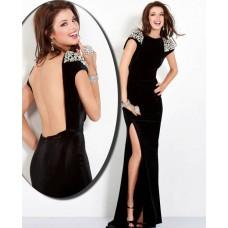 Fitted Cap Sleeve Backless Long Black Velvet Beaded Evening Prom Dress With Slit