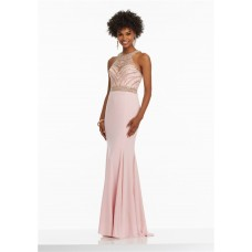 Fitted High Neck Long Pink Jersey Tulle Beaded Prom Dress