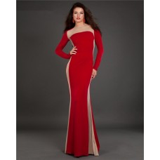 Fitted Long Sleeve Red Jersey Sheer Illusin Tulle Evening Prom Dress
