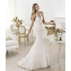 Fitted Mermaid Halter Low Back Tiered Layered Lace Wedding Dress