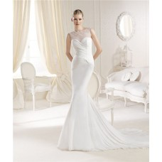 Fitted Mermaid Illusion Neckline Chiffon Ruched Wedding Dress