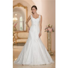 Fitted Mermaid Open Back Tulle Lace Strap Wedding Dress With Sash