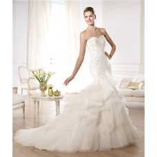 Fitted Mermaid Sweetheart Lace Tulle Ruffle Wedding Dress With Pearls