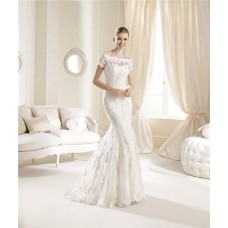 Fitted Mermaid Sweetheart Neckline Venice Lace Wedding Dress With Short Sleeves Jacket