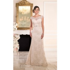 Fitted Scalloped Neck Cap Sleeve Open Back Champagne Lace Wedding Dress Crystals Belt