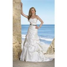 Fitted Strapless Corset Satin Ruched Pick Up Skirt Wedding Dress Black Belt