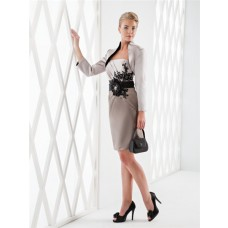 Fitted Strapless Satin Lace Applique Beaded Short Formal Evening Dress With Bolero Jacket
