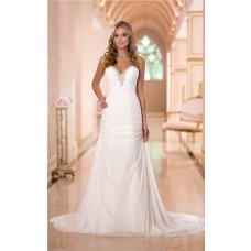 Fitted Sweetheart Chiffon Ruched Corset Wedding Dress Sweep Train
