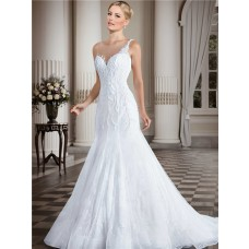 Fitted Trumpet Illusion Bateau Neckline Lace Tulle Beaded Wedding Dress