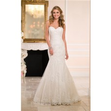 Fitted Trumpet Mermaid Sweetheart Ivory Lace Wedding Dress See Through Back