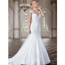 Fitted Trumpet Sweetheart Cap Sleeve Lace Beaded Wedding Dress Crystal Buttons