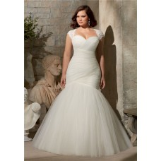 Flare Mermaid Ruched Tulle Corset Plus Size Wedding Dress Detachable Cap Sleeves