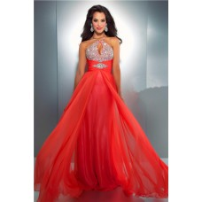 Flowing A Line Spaghetti Strap Cut Out Long Neon Coral Chiffon Beaded Prom Dress