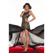 Flowing Illusion Neckline Cap Sleeve Long Black Lace Chiffon Evening Prom Dress Slit