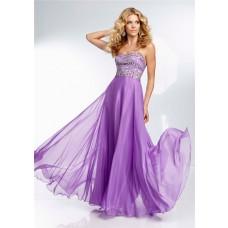 Flowing Strapless Long Lavender Purple Chiffon Beaded Crystal Prom Dress
