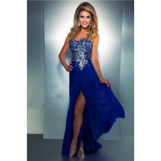 Flowing Sweetheart Long Royal Blue Chiffon Beaded Sequin Crystal Prom Dress Slit