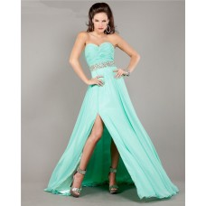 Flowy Strapless Long Mint Green Chiffon Ruched Prom Dress With Slit