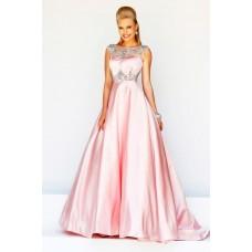 Formal A Line Princess Bateau Neck V Back Long Pink Satin Beaded Evening Prom Dress