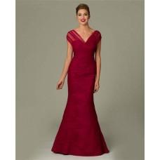 Formal Mermaid V Neck Cap Sleeve Burgundy Tulle Ruched Evening Dress