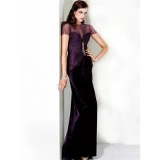 Formal Sheath Slim Long Purple Chiffon Evening Wear Dress With Sleeves