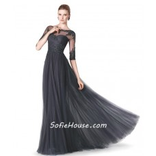 Formal Sheer Illusion Neckline Long Black Lace Beaded Evening Dress With Sleeves