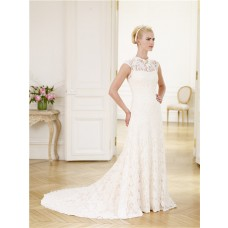 Formal Slim A Line High Neck Cap Sleeve Vintage Lace Wedding Dress With Bow