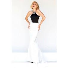 Formal Slim Sheath Halter Long Black White Satin Evening Prom Dress Open Back