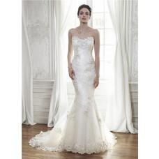 Glamour Mermaid Strapless Corset Back Tulle Applique Wedding Dress