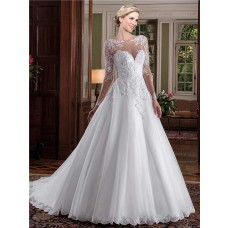 Gorgeous Ball Gown Bateau Neckline Sheer Long Sleeve Tulle Lace Beaded Wedding Dress