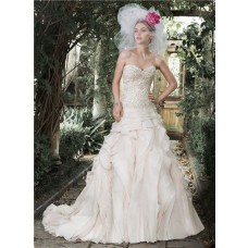 Gorgeous Ball Gown Sweetheart Champagne Colored Organza Ruffle Layered Wedding Dress