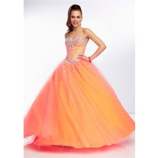 Gorgeous Ball Gown Sweetheart Long Orange Tulle Beaded Prom Dress Corset Back