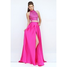 Gorgeous Halter High Slit Two Piece Long Hot Pink Satin Beaded Prom Dress
