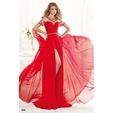 Gorgeous Jewel Neckline Sheer Back High Slit Red Chiffon Beaded Prom Dress