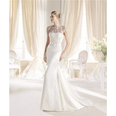 Gorgeous Mermaid Boat Neckline Silk Satin Beaded Wedding Dress Bow Belt