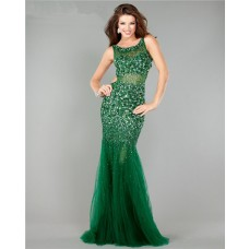 Gorgeous Mermaid Cut Out Backless Emerald Green Tulle Beaded Prom Dress