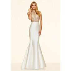 Gorgeous Mermaid High Neck Cap Sleeve White Taffeta Gold Beaded Prom Dress Open Back