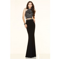 Gorgeous Mermaid High Neck Illusion Back Two Piece Black Beaded Prom Dress