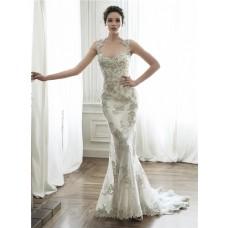 Gorgeous Mermaid Queen Anne Neckline Backless Applique Crystal Wedding Dress