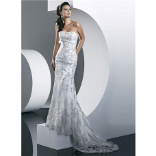 Gorgeous Mermaid Strapless Summer Beach Lace Wedding Dress With Beading Belt