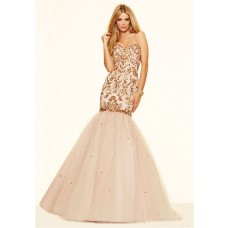 Gorgeous Mermaid Sweetheart Champagne Satin Tulle Gold Beaded Prom Dress Corset Back