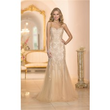 Gorgeous Mermaid Sweetheart Gold Colored Tulle Lace Beaded Wedding Dress