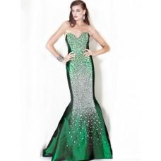Gorgeous Mermaid Sweetheart Long Emerald Green Taffeta Beaded Evening Dress
