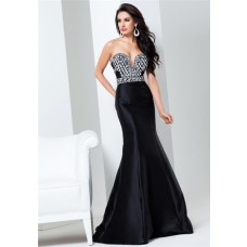 Gorgeous Mermaid Sweetheart Neckline Black Taffeta Beaded Evening Prom Dress