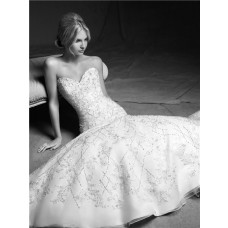 Gorgeous Mermaid Sweetheart Organza Lace Beaded Wedding Dress With Sleeves Jacket