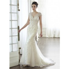 Gorgeous Mermaid V Neck Cap Sleeve Low Back Embroidery Tulle Beaded Wedding Dress