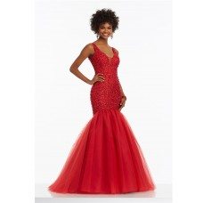 Gorgeous Mermaid V Neck Open Back Red Satin Tulle Beaded Prom Dress