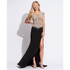 Gorgeous Scoop Neck Cap Sleeves Sheer Panels Backless Long Black Chiffon Beaded Prom Dress With Slit