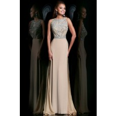 Gorgeous Sheath Scoop Neck Long Champagne Chiffon Crystal Beading Evening Prom Dress