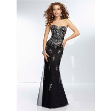 Gorgeous Sheath Sweetheart Neckline Open Back Long Black Chiffon Beaded Prom Dress