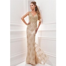 Gorgeous Sheath V Neck Sheer Back Long Champagne Beaded Occasion Evening Dress
